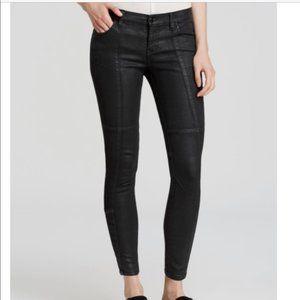 Free People 'Jillian' Coated Low Rise Moto Jeans